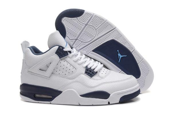 Nike Air Jordan 4 Retro белые с синим кожа (40-45)