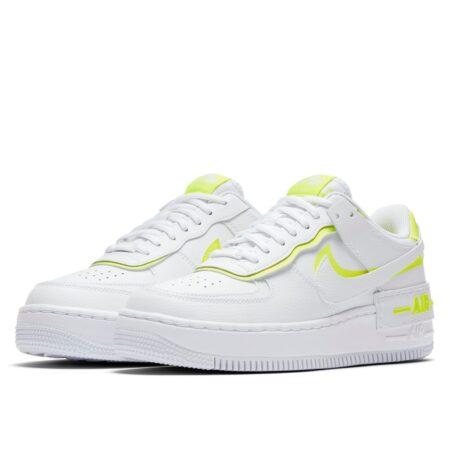 Nike Air Force 1 Shadow белые с желтым кожаные женские (35-39)
