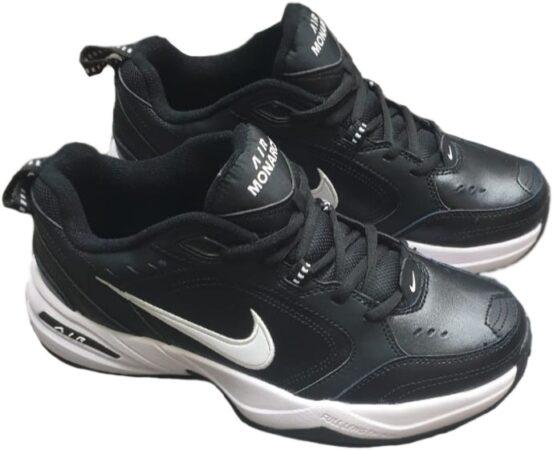 Nike Air Monarch черные с белым кожаные мужские (40-44)