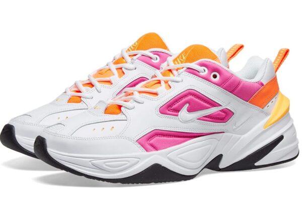 Nike M2K Tekno белые-оранжевые-фиолетовые кожаные женские (35-39)