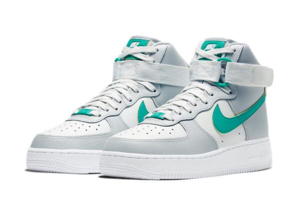 Nike Air Force 1 High 07 серо-белые кожаные мужские (40-44)