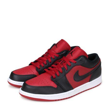 Nike Air Jordan 1 Low черно-красные кожаные мужские (40-45)