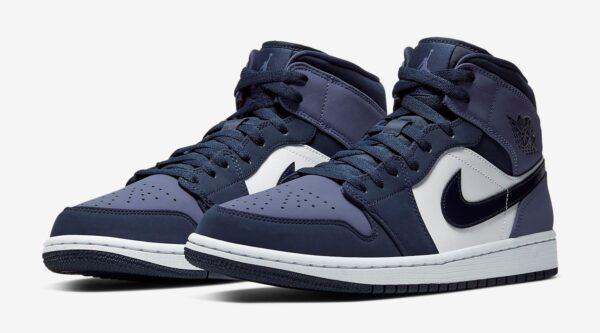 Nike Air Jordan 1 Retro фиолетово-белые кожа-нубук женские (35-39)