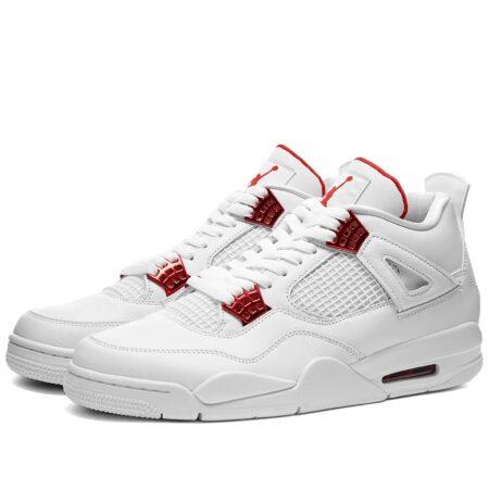 Nike Air Jordan 4 Metallic Red белые кожаные женские (35-39)