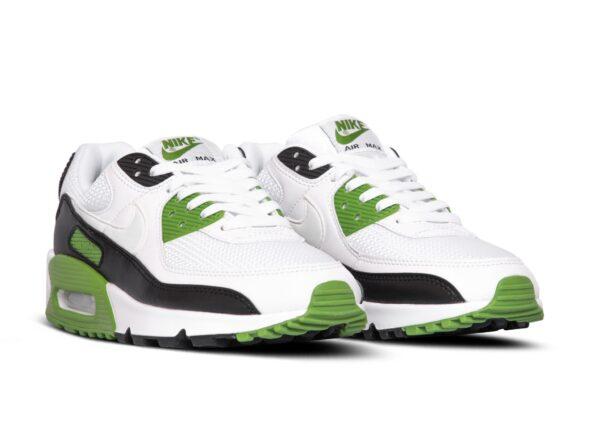 Nike Air Max 90 серо-белые с зеленым замша-сетка мужские (40-44)