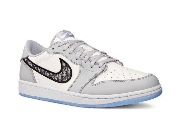 Dior x Nike Air Jordan 1 Low бело-серые кожаные мужские (40-44)