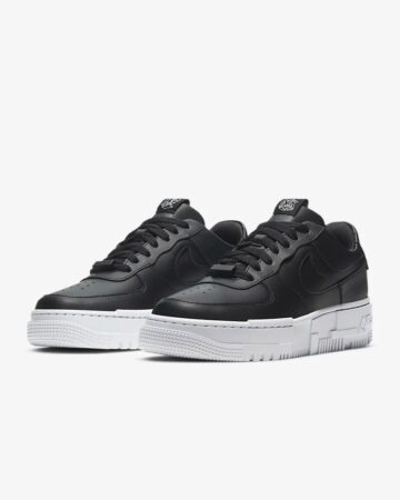 Nike Air Force 1 Low Pixel Triple черные кожаные мужские-женские (35-44)