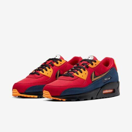 Nike Air Max 90 London красные с синим нубук мужские (40-44)